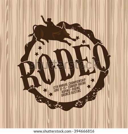 Rodeo brand on light wood background.