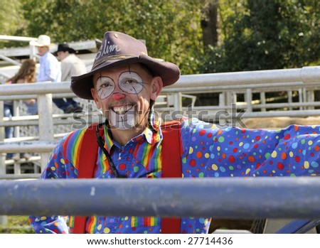 Rodeo Clown Bull Pen Stock Photo Royalty Free 27714436
