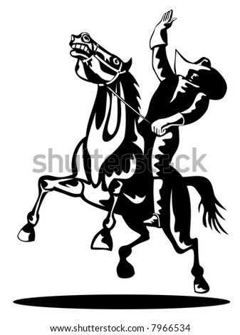 Rodeo cowboy on horseback woodcut style