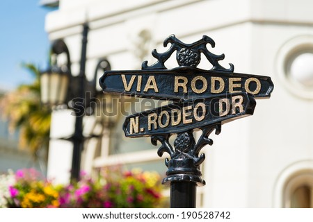 Rodeo Drive cross street signs - stock photo