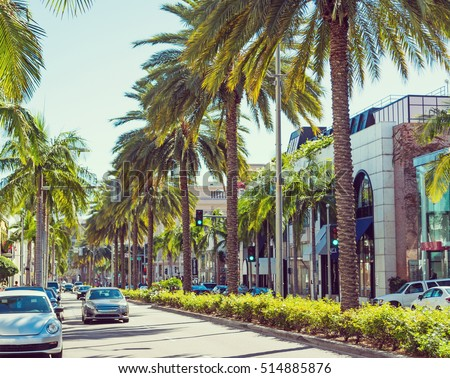 Rodeo drive on a sunny day, California