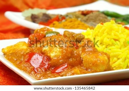 Rogan Josh Curry with pilau rice - stock photo