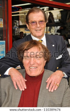 Roger Moore and Richard Kiel  at the ceremony honoring Roger Moore with the 2,350th Star on the Hollywood Walk of Fame. Hollywood Boulevard, Hollywood, CA. 10-11-07