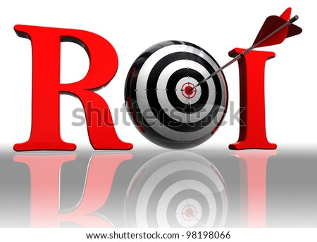 roi red word with conceptual target and arrow on white background clipping path included - stock photo