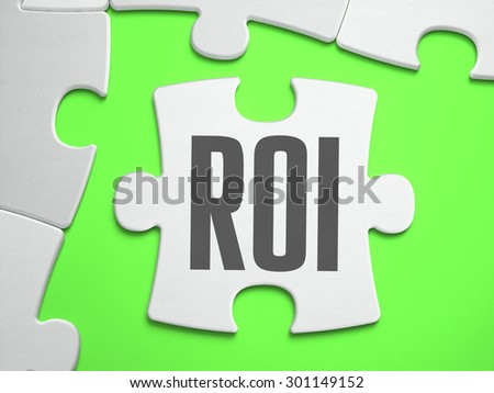ROI - Return on Investment - Jigsaw Puzzle with Missing Pieces. Bright Green Background. Close-up. 3d Illustration. - stock photo