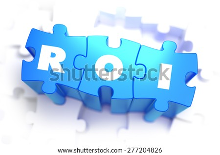 ROI - White Text on Blue Puzzles and Selective Focus. 3D Render.  - stock photo