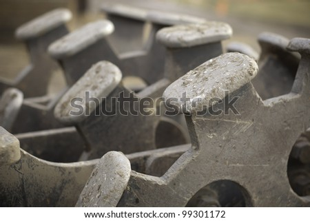 roll compactor attachment for excavator and construction and building - stock photo