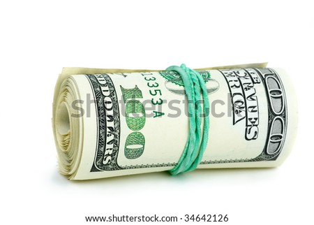 Roll of $100 banknotes tightened with rubber band isolated on the white background
