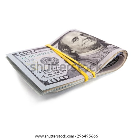 roll of 100 bill dollars isolated on white background