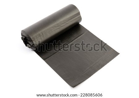 roll of black rubbish package isolated on white - stock photo