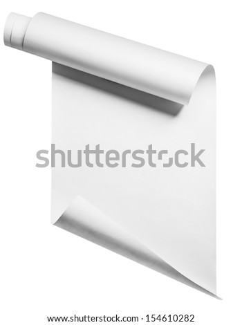 Roll of blank white paper ready for type, isolated with clipping path - stock photo