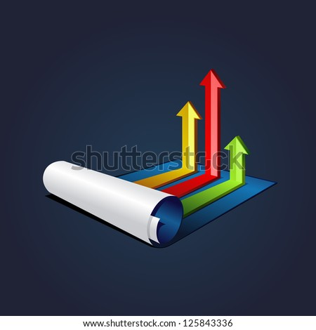 roll of blue paper with colorful graph or diagram with arrows . bitmap version - stock photo