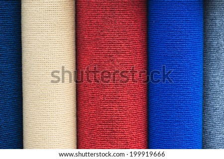 Roll of carpet colors - stock photo