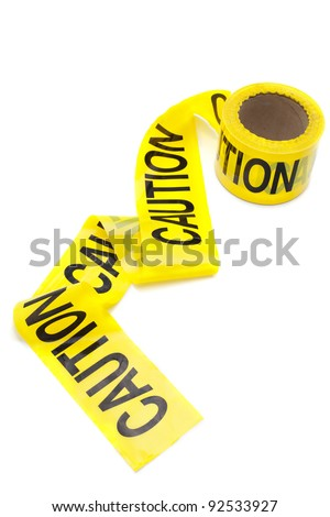Roll of caution tape, isolated on white, copy space - stock photo