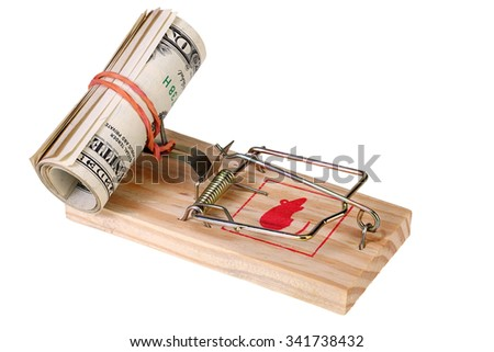 Roll of dollar banknotes in the mousetrap isolated on white with Clipping Path