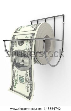 Roll of 100 dollars bills on a toilet paper spindle   - stock photo