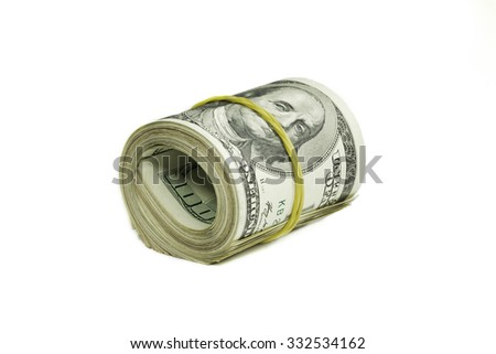 Roll of dollars isolated on a white background