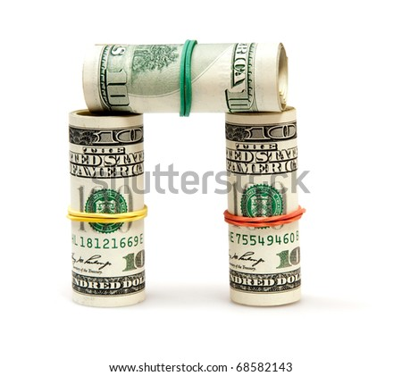 roll of dollars isolated on white