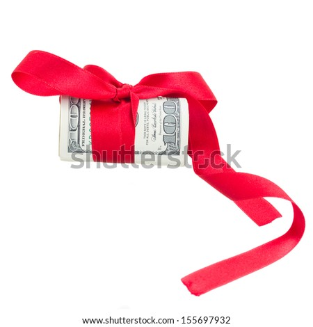 roll of dollars with red bow  and ribbon isolated on white background - stock photo
