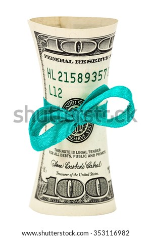 Roll of dollars wrapped by ribbon over white background - stock photo