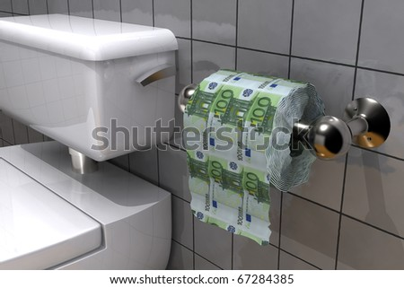 roll of euros in a shape of a toilet paper - stock photo
