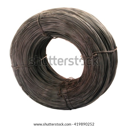 Roll of iron wire, close up - stock photo