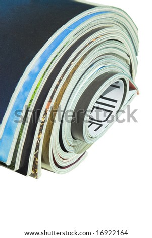 Roll of magazines with copy space