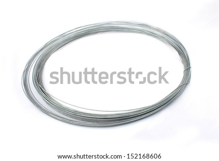 Roll of metal wire isolated on white - stock photo