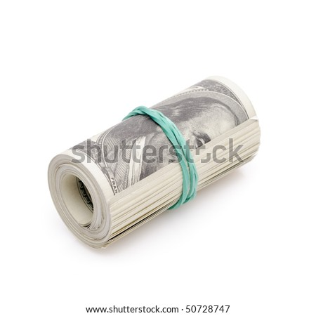 Roll of money isolated on white
