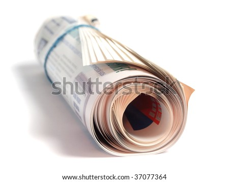 Roll of newspaper isolated on white background - stock photo