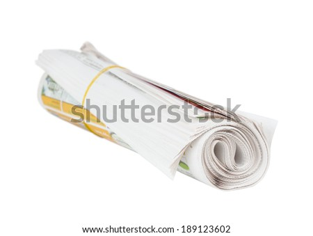 Roll of newspapers. Isolated on white background. Breaking news, journalism, power of the media, newspaper and magazine ads and subscription concept.  - stock photo