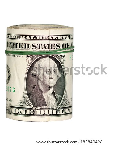Roll of one dollar bills on a white background. - stock photo