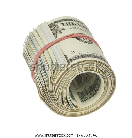 Roll of one dollar notes with red rubber band isolated on white background