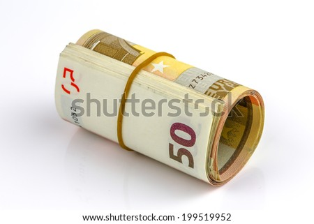 Roll of one Fifty euro banknotes with a rubber band, isolated on the white background, clipping path included. Full focus. - stock photo