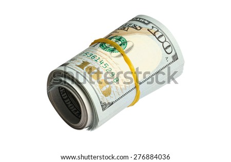 Roll of one hundred dollars banknotes isolated on white background with clipping path - stock photo