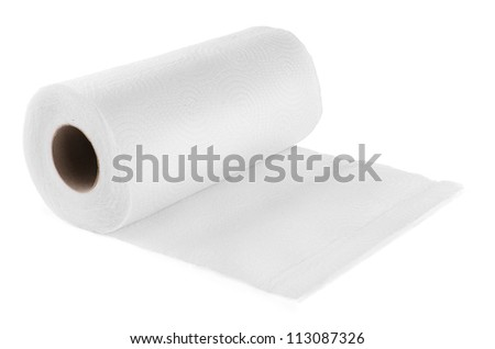 Roll of paper kitchen towels isolated on white - stock photo
