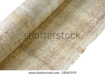 roll of papyrus paper isolated on white