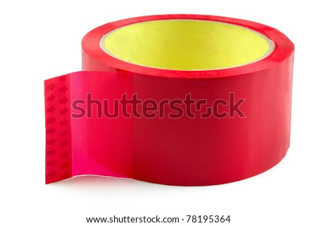Roll of red adhesive plastic tape isolated on white - stock photo
