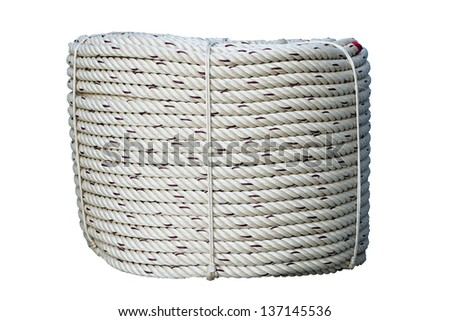 roll of rope isolated on whit - stock photo