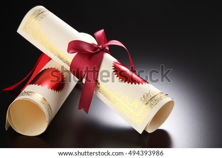 roll of the certificate with ribbon
