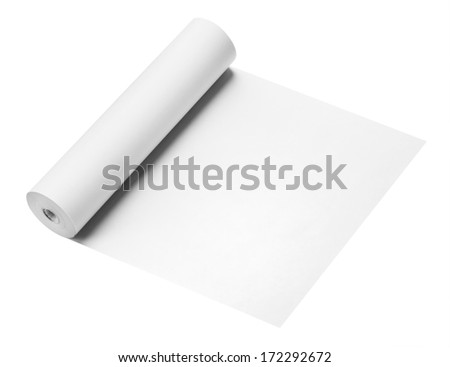 Roll of thermal fax paper, isolated on white - stock photo