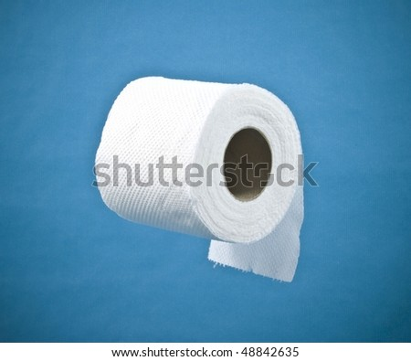 roll of toilet paper on a blue background