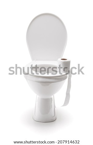Roll of toilet paper on a toilet seat isolated on white background - stock photo