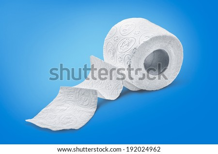 Roll Of Toilet Paper over blue background - stock photo