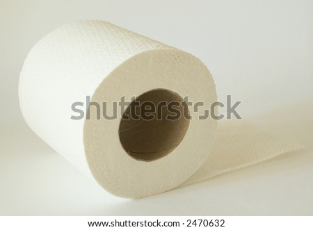 roll of toilet paper over white background