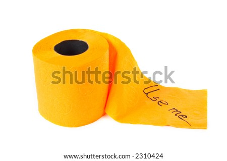 Roll of toilet paper with shadow on a white background - stock photo