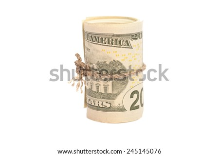 Roll of  twenty dollars isolated on white background - stock photo