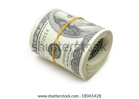 Roll of US money in isolated white background