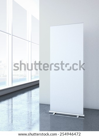 Roll up banner at office. 3d rendering - stock photo