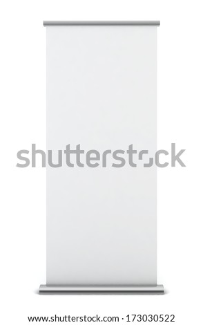 Roll up banner. 3d illustration on white background  - stock photo